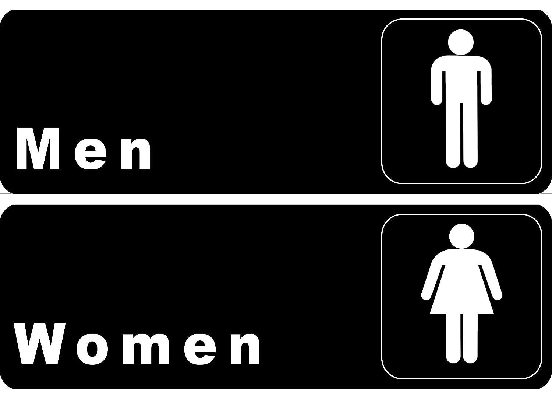 """""""Men"""" & """"Women"""" Restrooms Signs Set, Toilet Door Plate for Business Restaurant, 3"""" x 9"""""""