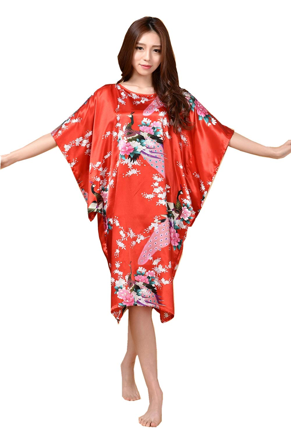 6 Women's Nightie Long  Satin Printed Round Neck Loose Dressing Dress Plus Size Nightshirt Soft Home TShirt Dress,11