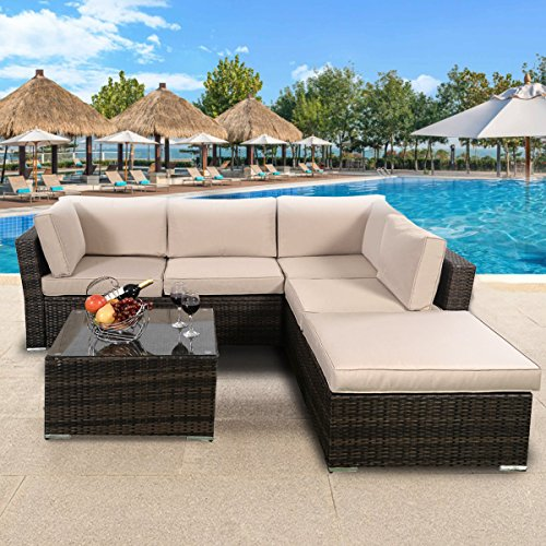 TANGKULA 4 Piece Furniture Set Patio Outdoor Deck Lawn Backyard Durable Steel Frame PE Rattan Wicker Sectional Sofa Set, Conversation Set with Coffee Table (brown) (Furniture Steel Garden)