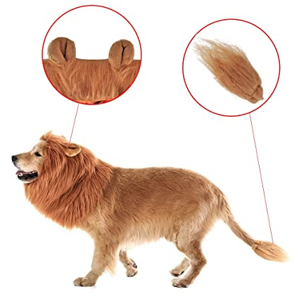 Airtana Perro Lion Mane Peluca (Oído Y Cola),Puede Ser Limpiado Mascota Ajustable