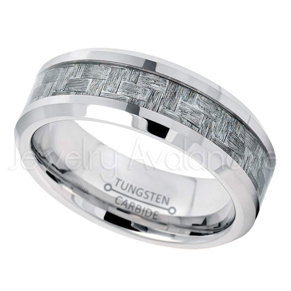 Mens Tungsten Wedding Ring Jewelry Avalanche 8mm Polished Comfort Fit Beveled Edge Tungsten Carbide Ring w//Charcoal Gray Carbon Fiber Inlay