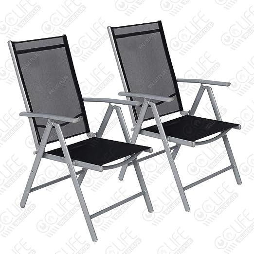 Cclife Juego Sillas Plegables De Aluminio Para Jardín Terraza Patio Playa Impermeables Y Resistentes Al Sol Color Light Gray Tamaño 2pz Set