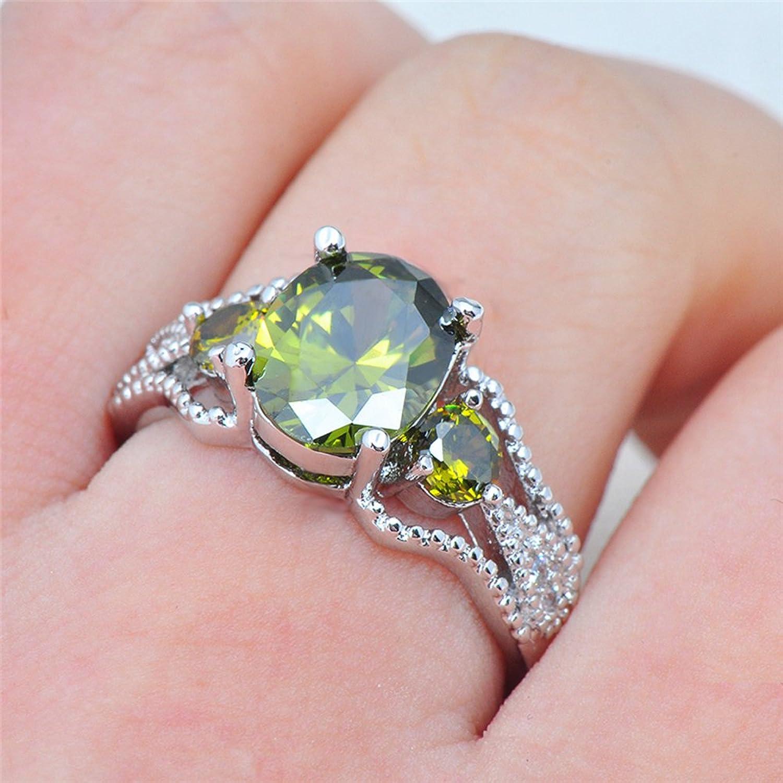 Amazon.com: F&F jewel Design Peridot Ring Silver Filled Wedding ...