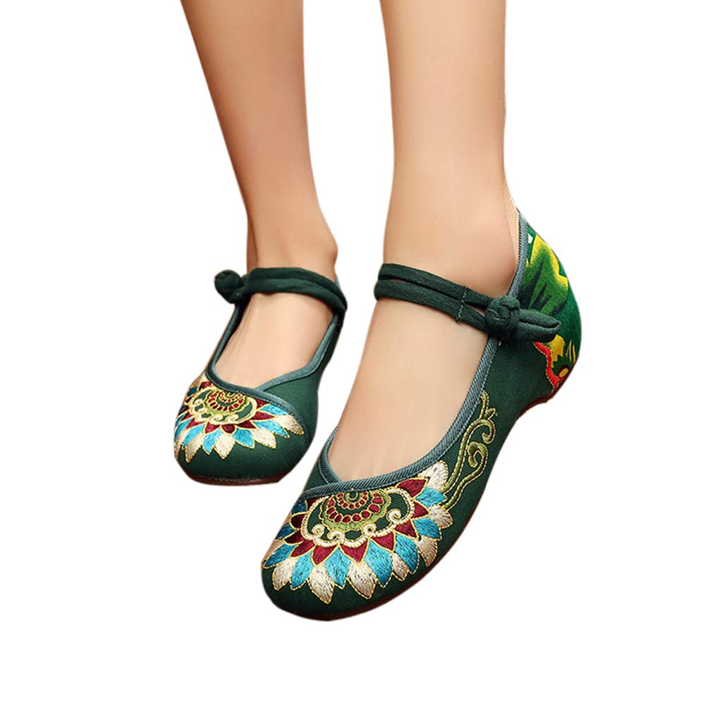 CINAK Embroidered Flats Shoes Women's Chinese Embroidery Ballet Slip on Comfortable Bohemia(9.5-10B(M) US/CN43/26.5CM,Green)