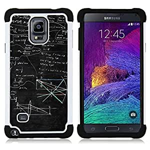 GIFT CHOICE / Defensor Cubierta de protección completa Flexible TPU Silicona + Duro PC Estuche protector Cáscara Funda Caso / Combo Case for Samsung Galaxy Note 4 SM-N910 // Mathematics Black Boeard Geometrics Art //