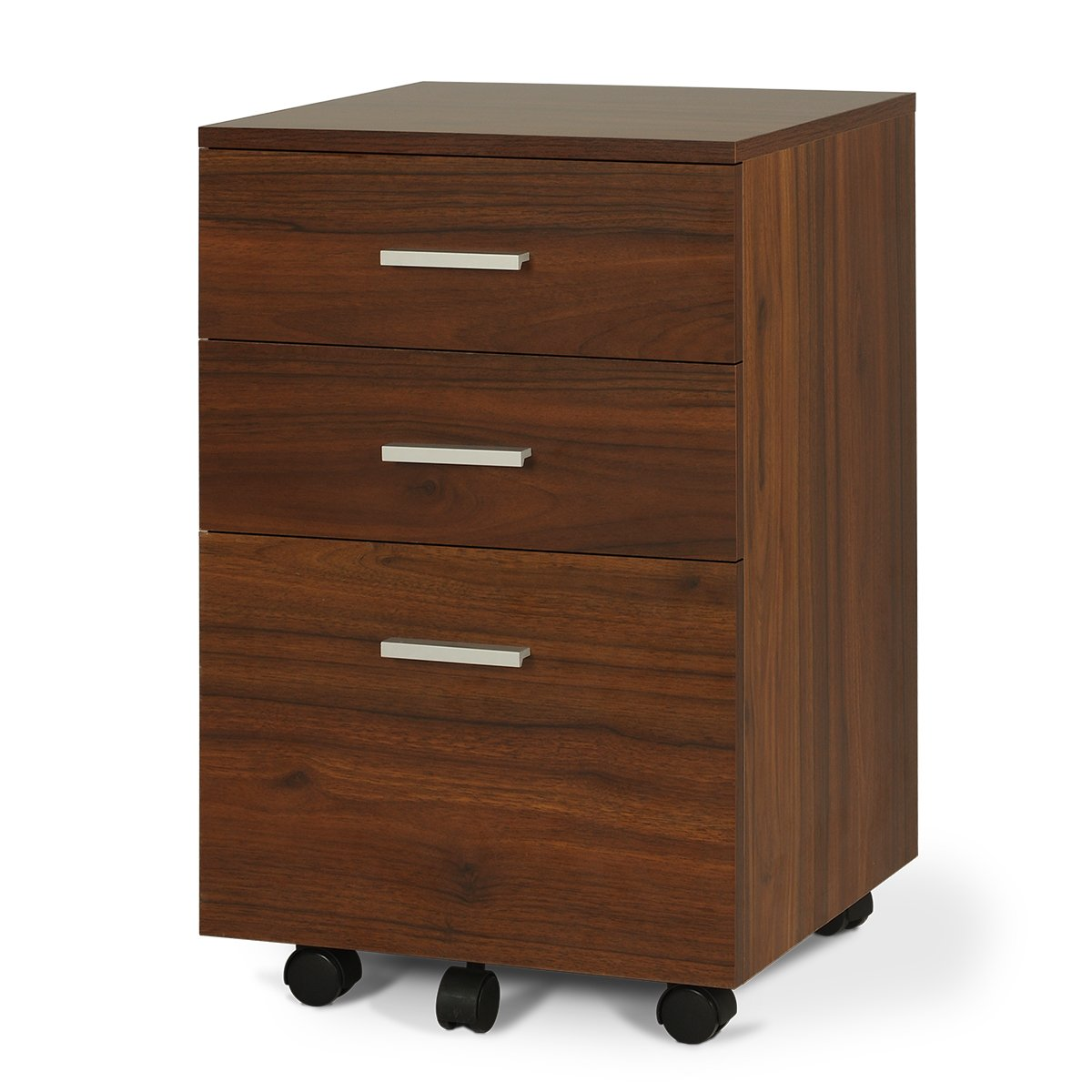 DEVAISE 3-Drawer Wood Mobile File Cabinet, Letter Size/Black & Oak