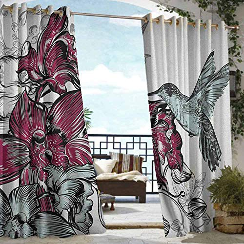 Indoor/Outdoor Single Panel print Window Curtain Hummingbird,Orchid Flowers Bouquet and A Hummingbird Nature Wildlife Artistic Design Print, Burgundy,W84