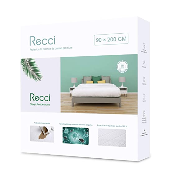 Recci Cubrecolchón 90x190/200 - Cubre Colchón 90x190/200 Impermeable, 100% Bambú Fundas de Colchón, Protector de Colchón, Ultra Suave, Transpirable, ...