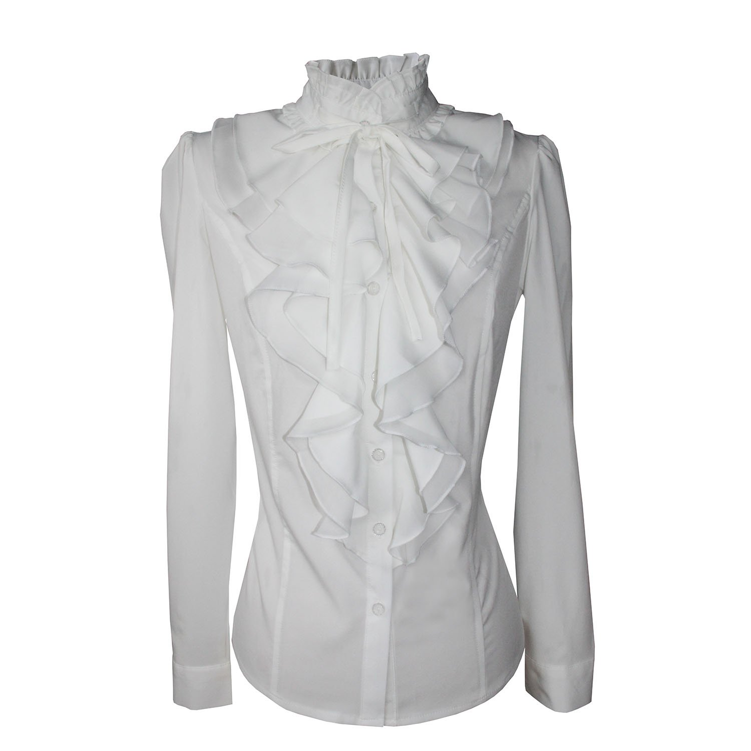 Edwardian Blouses | White & Black Lace Blouses & Sweaters Y&Z Shirts for Women Stand-up Collar Vintage Victoria Ruffle BS02 $18.99 AT vintagedancer.com