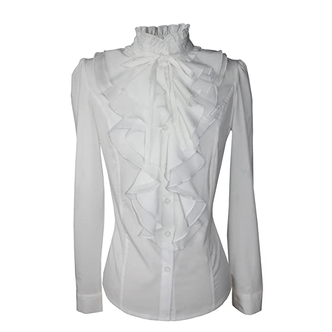 abae1aafb3032 Shirts for Women Stand-Up Collar Vintage Victoria Ruffle Long Sleeve BS02  (XS