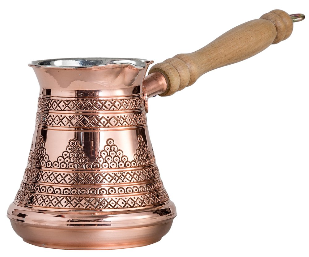 CopperBull Premium Turkish Greek Coffee Espresso Full Set with Copper Pot, Cups, Coffee for 6 (Silver) by CopperBull (Image #3)