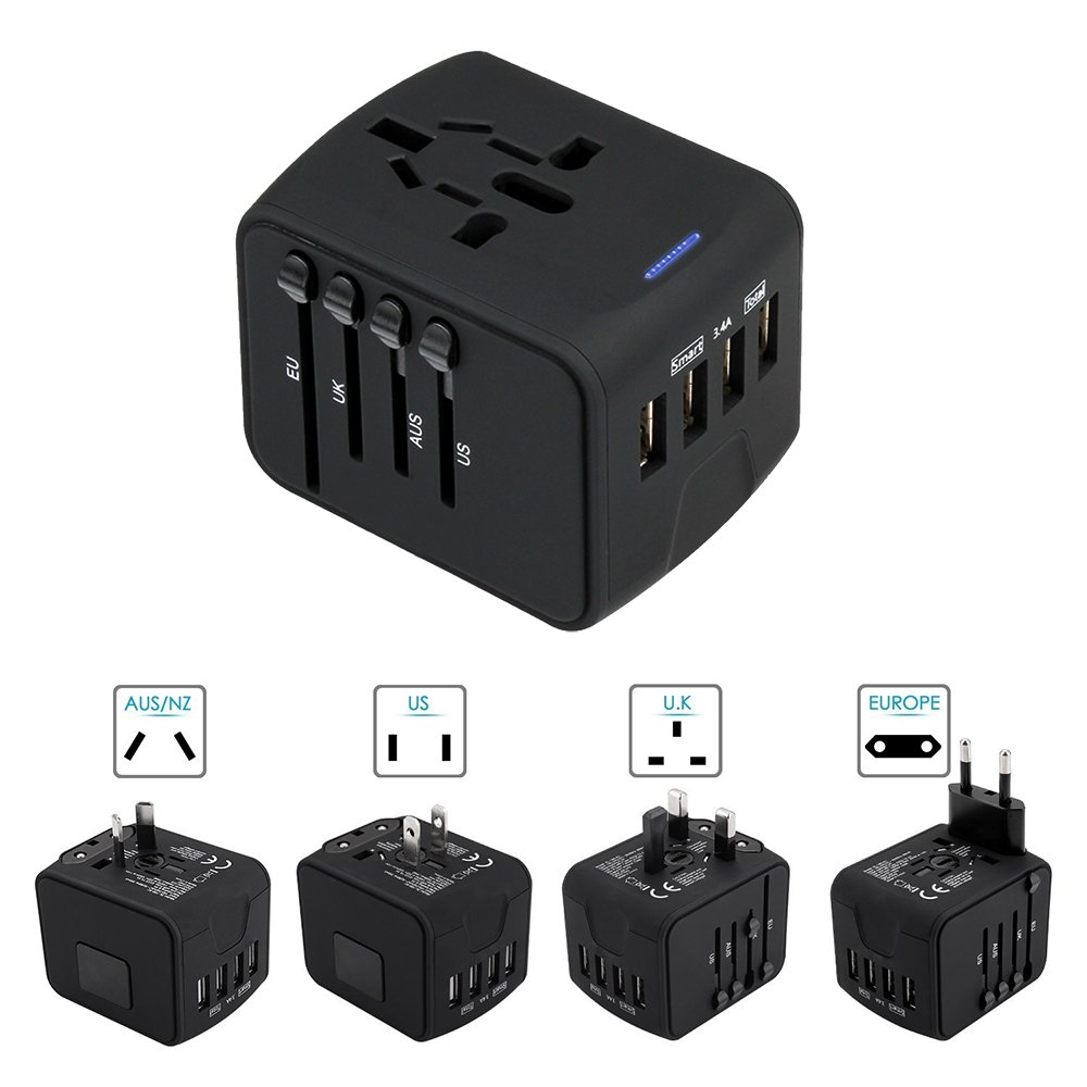 Universal Travel Adapter YOUXIU All in One World Travel Converters Wall ACPlug with 4 USB Charger Ports for US UK EU AU Asia, Built in Safety Fuse(Black/4 USB)