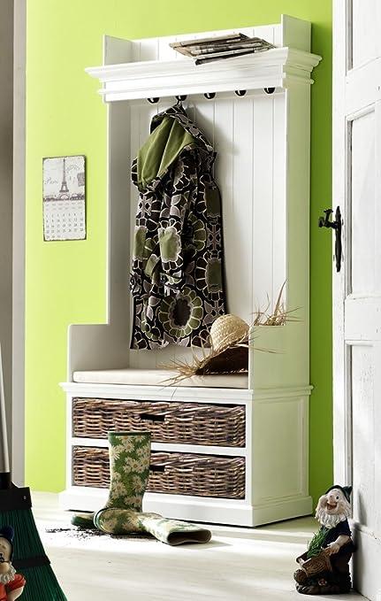 Albion pintada en blanco o muebles caoba perchero banco con ...