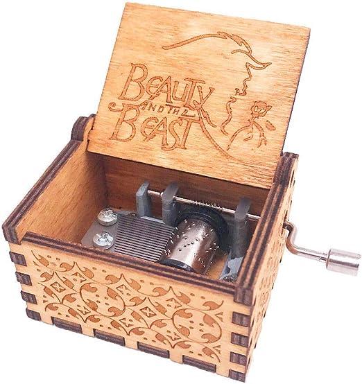Shirylzee Caja de música de manivela de madera, 18 notas, hecha a ...