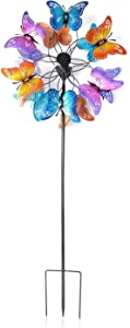 Shop LC Delivering Joy Garden Wind Spinner Stake Iron Blooming Garden Butterfly Green with Solar Ball Yard Home Decor Outdoor
