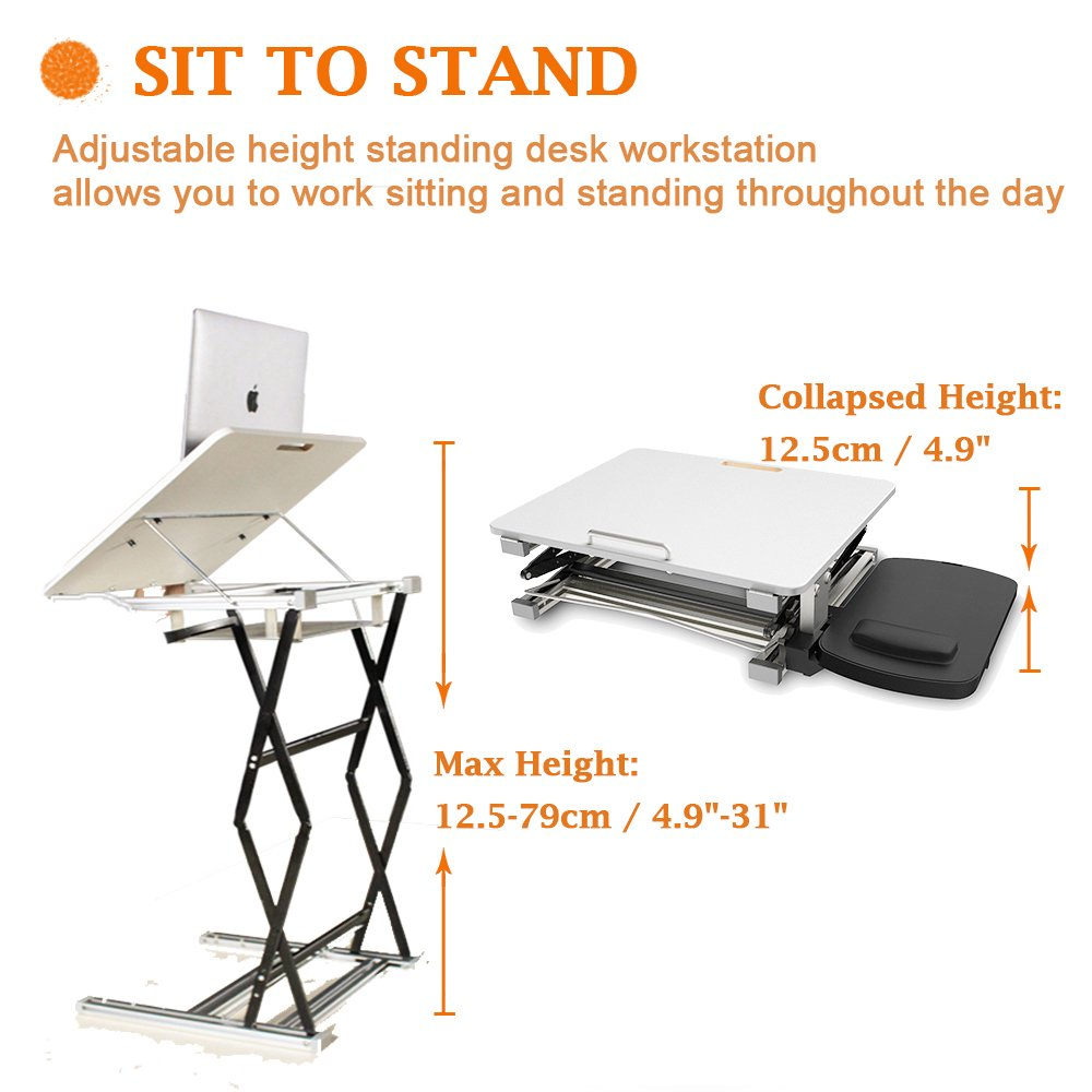 Annstory Laptop Desk, Portable Riser and Standing Table Adjustable Riser Height 4.9''-31'' Sit Or Stand Up Desk Easy Height Adjustments Table Office Desk Laptop Desk Tray by Annstory (Image #4)