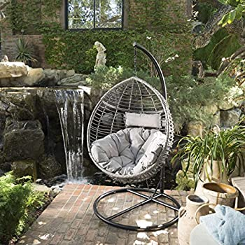 Leasa Outdoor Black Wicker Hanging Basket Chair with Grey Water Resistant Cushions and Black Iron Base