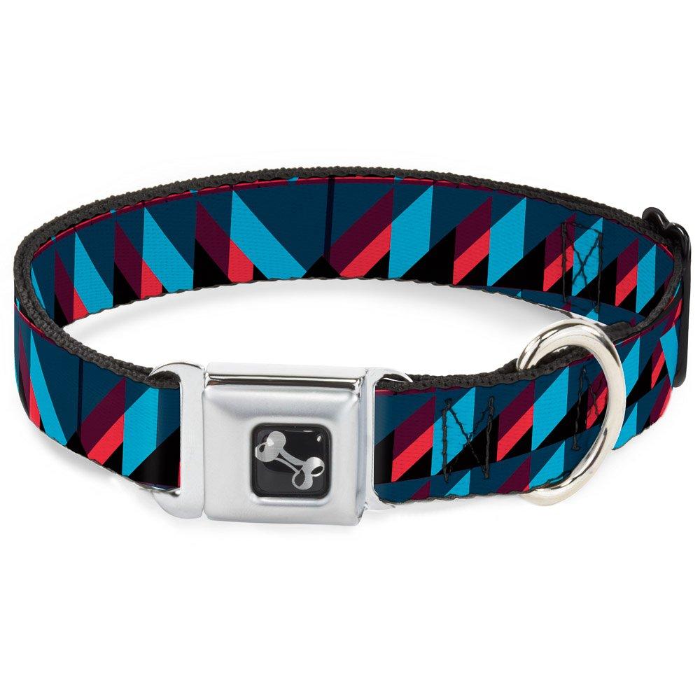 Buckle-Down Geometric Peaks bluees Purple Red Dog Collar Bone, Small 9-15
