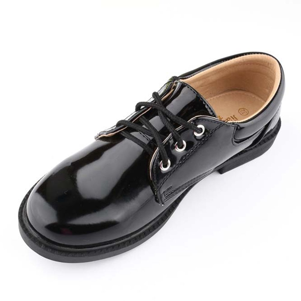 F-OXMY Kids Shiny Lace-up Wedding Oxfords Dress Shoes Boys Comfort Non-Slip School Casual Shoes Black
