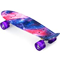 ENKEEO Complete Mini Cruiser Penny Skateboard 22 inch with Sturdy Old School Deck and 4 Clear PU Wheels for Adult Kids Beginners Girls Boys