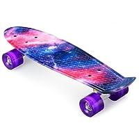 ENKEEO - Skateboard Planche à roulettes Retro Cruiser 22 Pouces, 4 Roues Translucides PU, Table en Plastique Renforcé, Roulement ABEC-7, pour Fille Garçon et Adulte Cadeau Noel