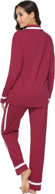 Aibrou Femmes Ensemble Pyjama en Satin Manche Longue V/êtements de Nuit pour Toutes Les Saisons