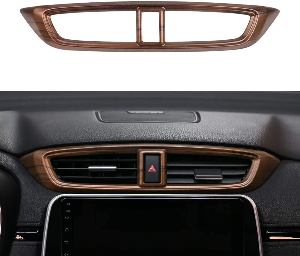 Thenice for CRV Air Vent Trim Central Consoles Wind Outlet Panel Dashboard Stickers Peach Wood Grain Moulding for Honda CR-V 2017 2018 2019 2020