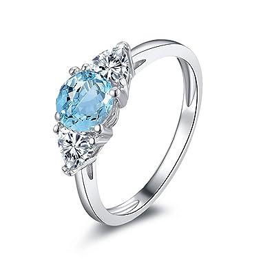 3e5fcfd135da Blisfille Joyas Anillo Corazon Mujer Anillo de Round Anillos Oro Blanco Diamantes  Anillo de Plata de Ley 925