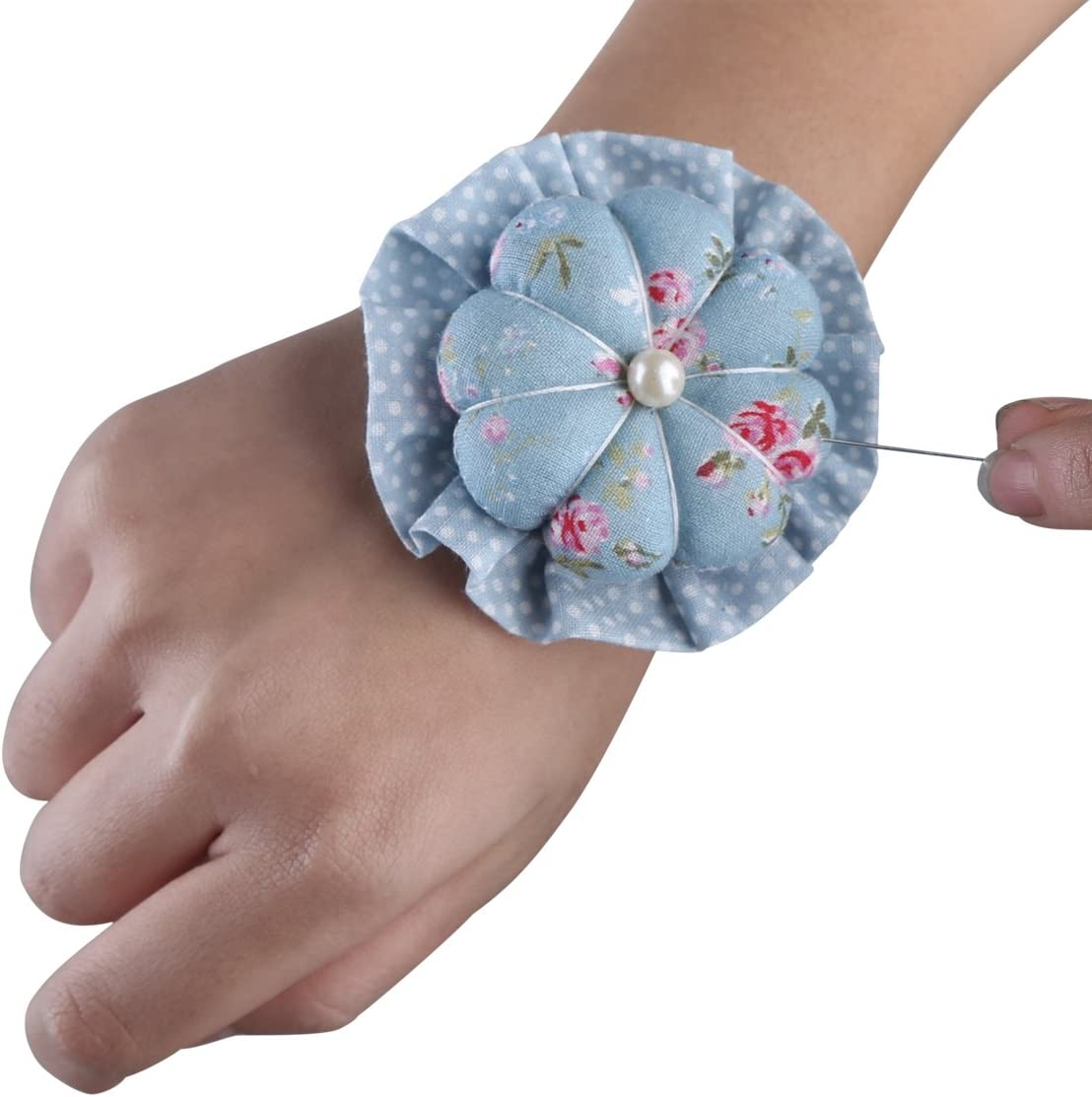 NEOVIVA Flower Shaped Small Pincushions for Sewing with Wrist Band Pack of 2 Floral Fuchsia Roses Style Blossom