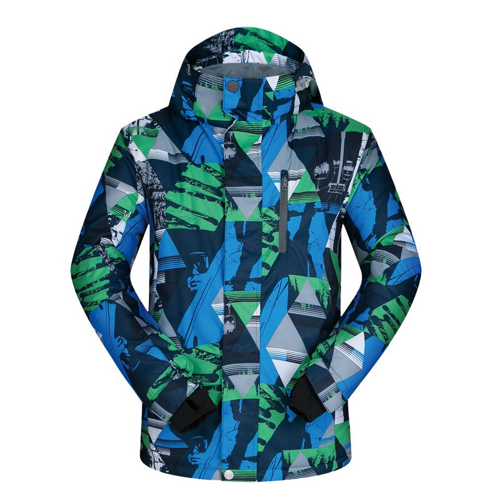 AUMING Skianzug Skijacke Wasserdichte Bunte gedruckte Snowboard Ski Jacket Outdoor Winter Oberbekleidung Herren (Farbe : Blue-Green Triangle, Größe : XXXL)