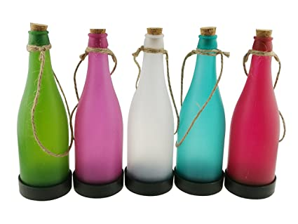 Winterworm Juego de 5 funciona con energía solar botella de Multicolor con cuerda de cáñamo lámpara. Pasa ...