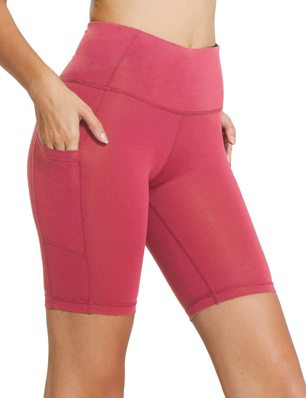 BALEAF Women's 8'' High Waist Tummy Control Workout Yoga Shorts Side Pockets Coral Size XS by BALEAF