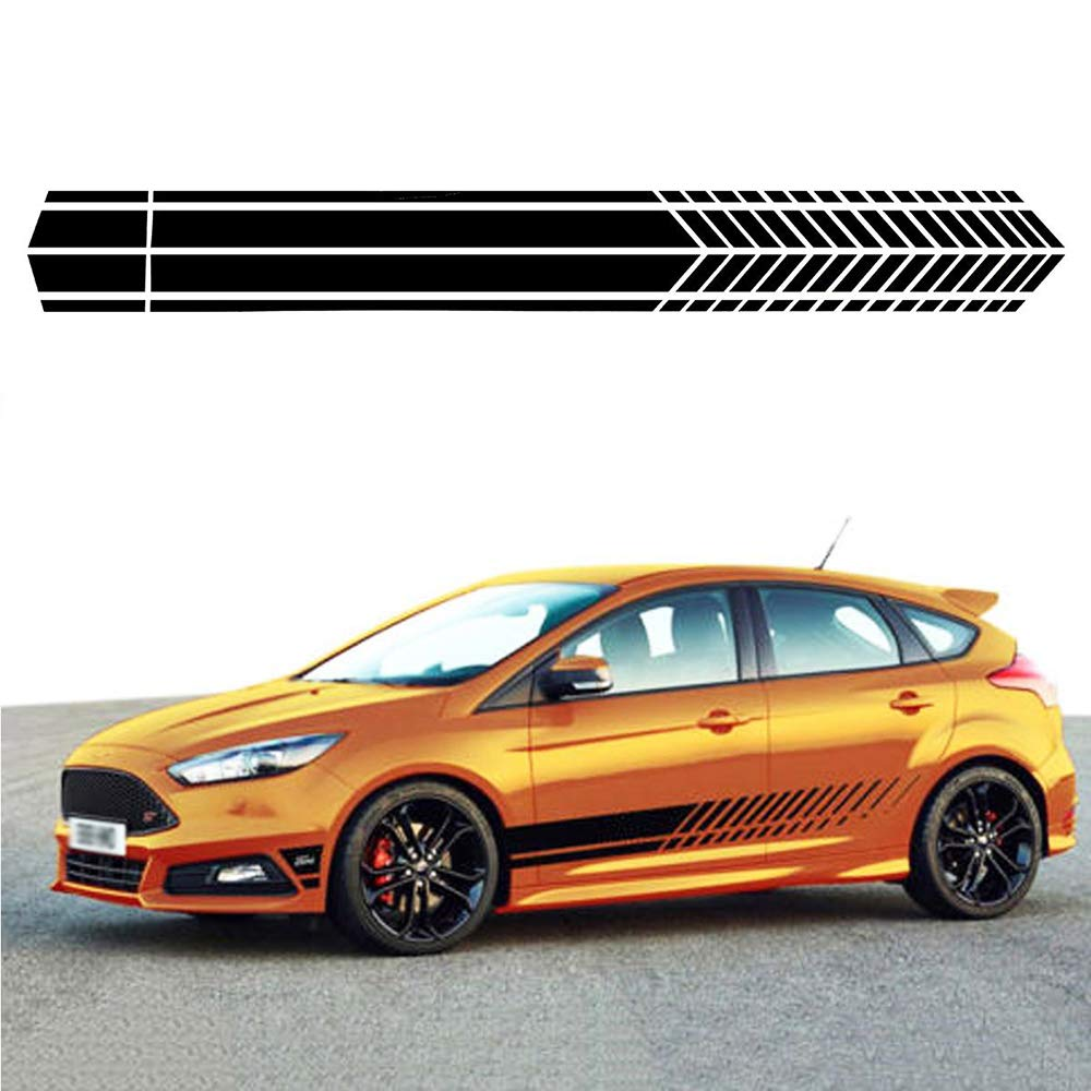 Amazon com ygmoner 2pcs car body side stripe skirt decal sticker for all cars car vinly sticker black sports outdoors