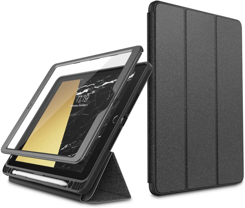 i-Blason Cosmo Case for New iPad 8th/7th Generation, iPad 10.2 2020 2019 Case, Full-Body Trifold with Built-in Screen Protector Protective Smart Cover with Auto Sleep/Wake & Pencil Holder (Gray)