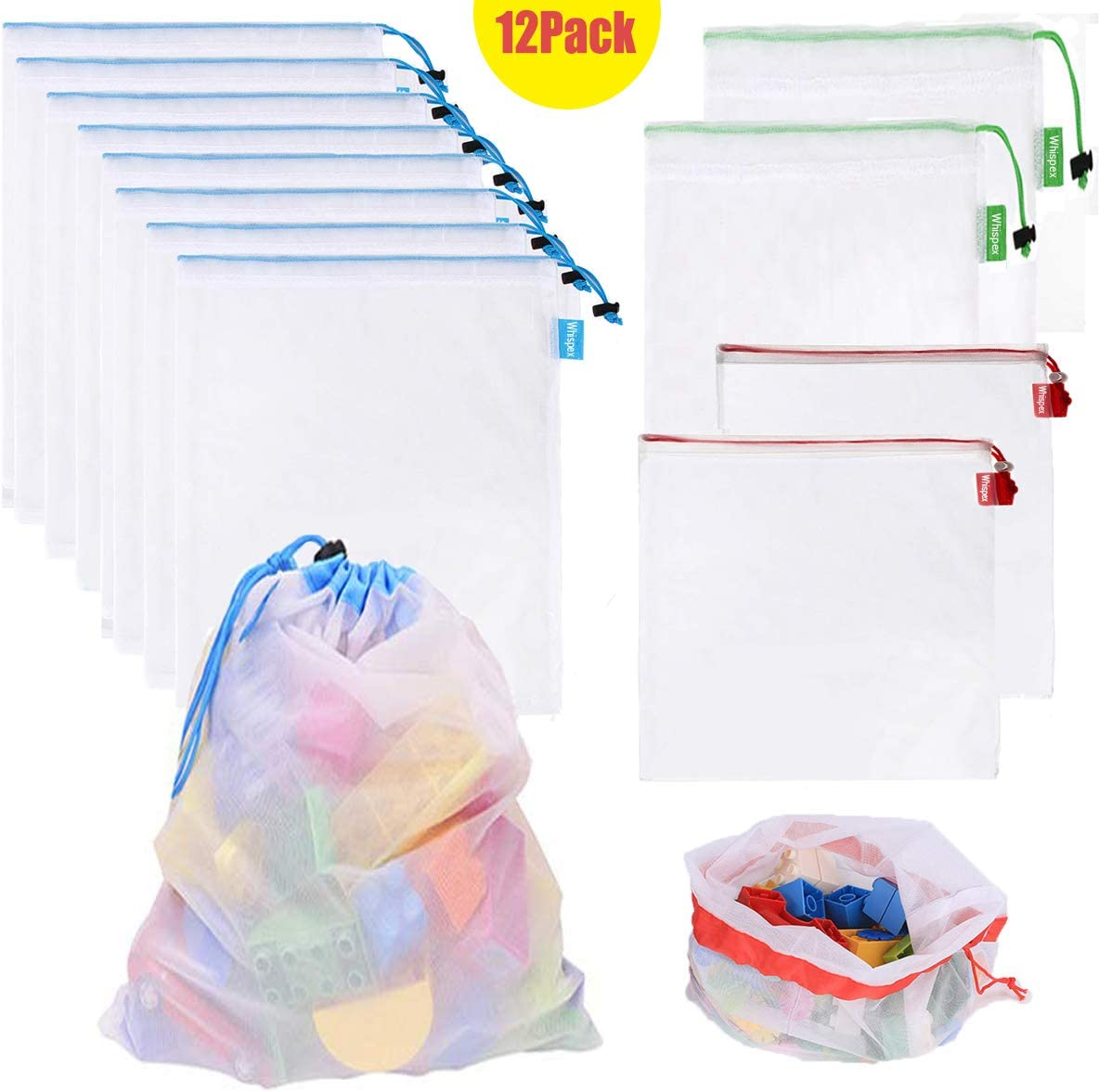 Amazon.com: Whispex Toy Storage & Organization Mesh Bags Set of 12 ...