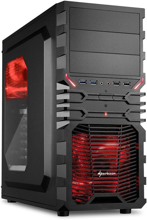 """Sharkoon VG4-W - Caja de ordenador gaming (semitorre ATX, iluminación y lacado interior ROJO, lateral acrílico, incluye 2 ventiladores LED, 3 bahías de 5,25""""), negro"""