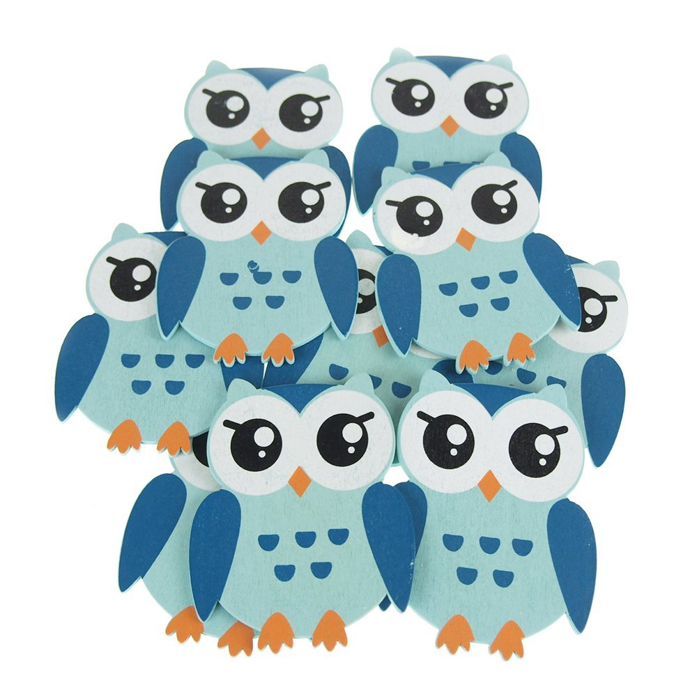 Wooden Owl Animal Cutouts, Blue, 4-1/4-Inch, 10-Piece by Firefly Imports