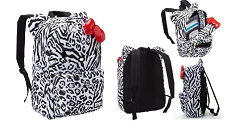 Image Unavailable. Image not available for. Color  Hello Kitty Animal Print  Zebra Leopard Full Size Backpack with 3D Red Bow 988046c07b5bf
