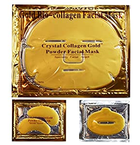 EBP Medical 24K Gold Collagen Combo Set: 10 x Facial Masks + 10 x Eye Masks + 10 x Lip Masks. Firm, Tone, Brighten Skin