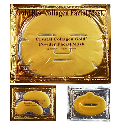 24k Gold Set - EBP Medical 24K Gold Collagen Combo Set: 10 x Facial Masks + 10 x Eye Masks + 10 x Lip Masks. Firm, Tone, Brighten Skin