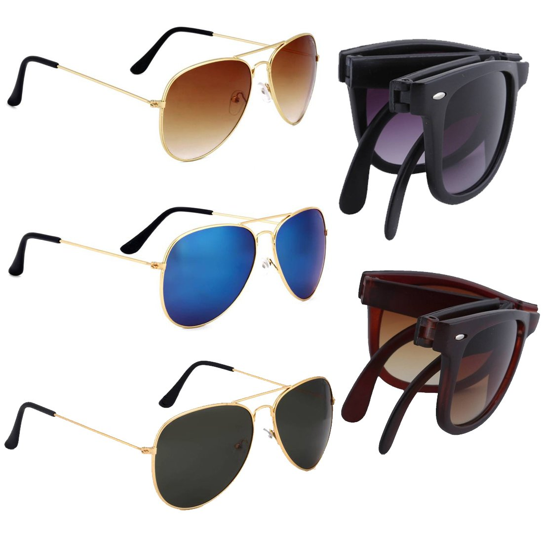 ELLIGATOR Combo of Multicolour Unisex Sunglasses