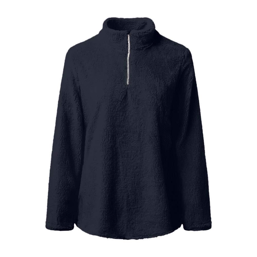 Btruely Pullover Damen Herbst Winter Sweatshirt Reißverschluss Fleece Outwear Loose Fit Langarmshirt Warm Mantel Hoher Kragen Top Mode Pullover
