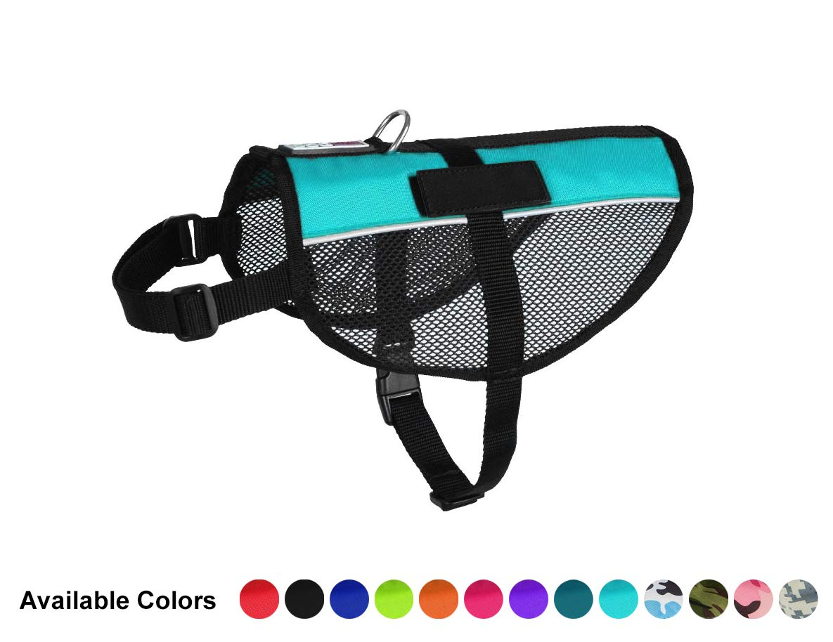 Dogline 17 -21  MaxAire Mesh Vest for Dogs and 2 Removable Blank Patches, Medium, Turquoise