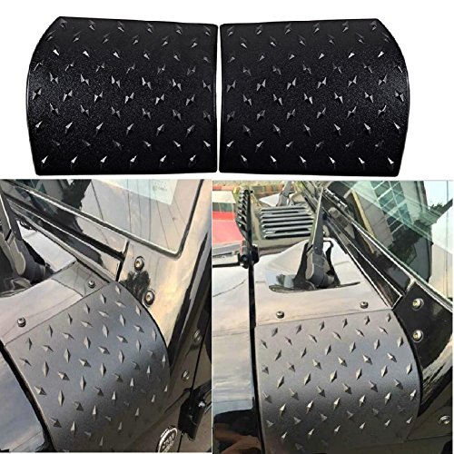 MAIKER Jeep Wrangler Black Body Armor Cowl Cover For JK Rubicon Sahara Sport X & Unlimited 2/4 door 2007-2017, 2 Pcs Exterior Accessories Parts (Wrangler Corner Jeep)