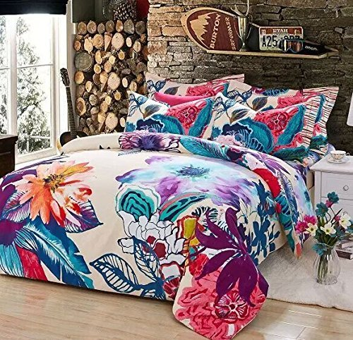 LELVA Bohemia Exotic Bedding Set Bohemian Duvet Covers Boho Bedding Set