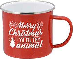 Holiday Coffee Mug - Festive Red Enamel Camping 16 Ounce Coffee Cup For Home and Gifting, Merry Xmas Ya Filthy Animal