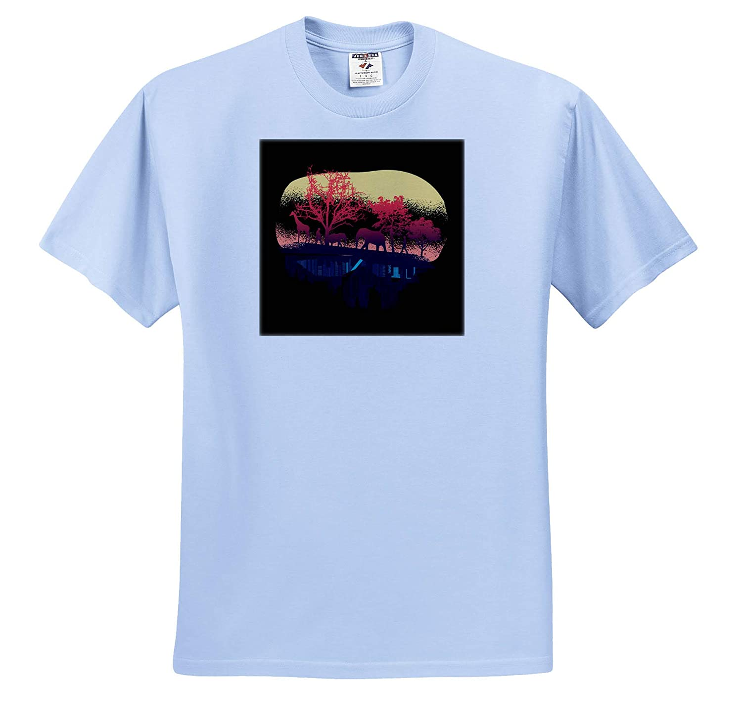 3dRose Sven Herkenrath Nature Forest Art with Giraffe Elephant and City Country T-Shirts