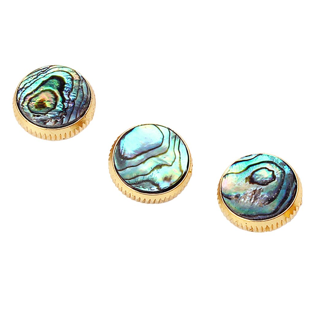 Dovewill 3Pcs Gold Plated Abalone Shell Finger Buttons Inlay for Trumpet Instrument Parts Accessory
