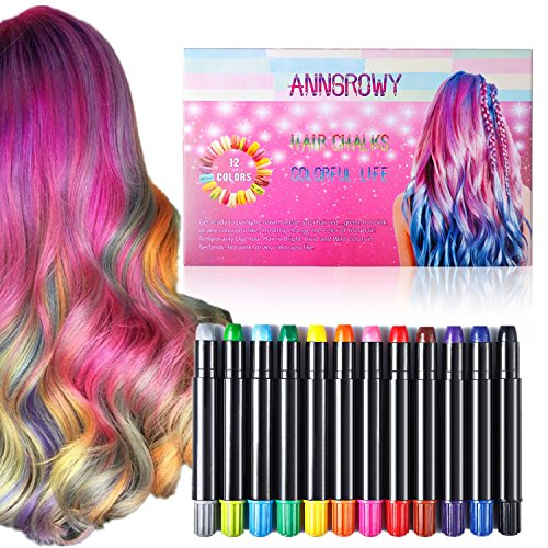 Hair Chalk Pen anngrowy 12 Colorful Temporary Hair Chalk for Girls Boys Women Men Non-Toxic Washable Hair Dye Color Chalk for Party Cosplay Theater Halloween Girl's Night Out Kid Girls (Temporary Black Hair Dye Spray)