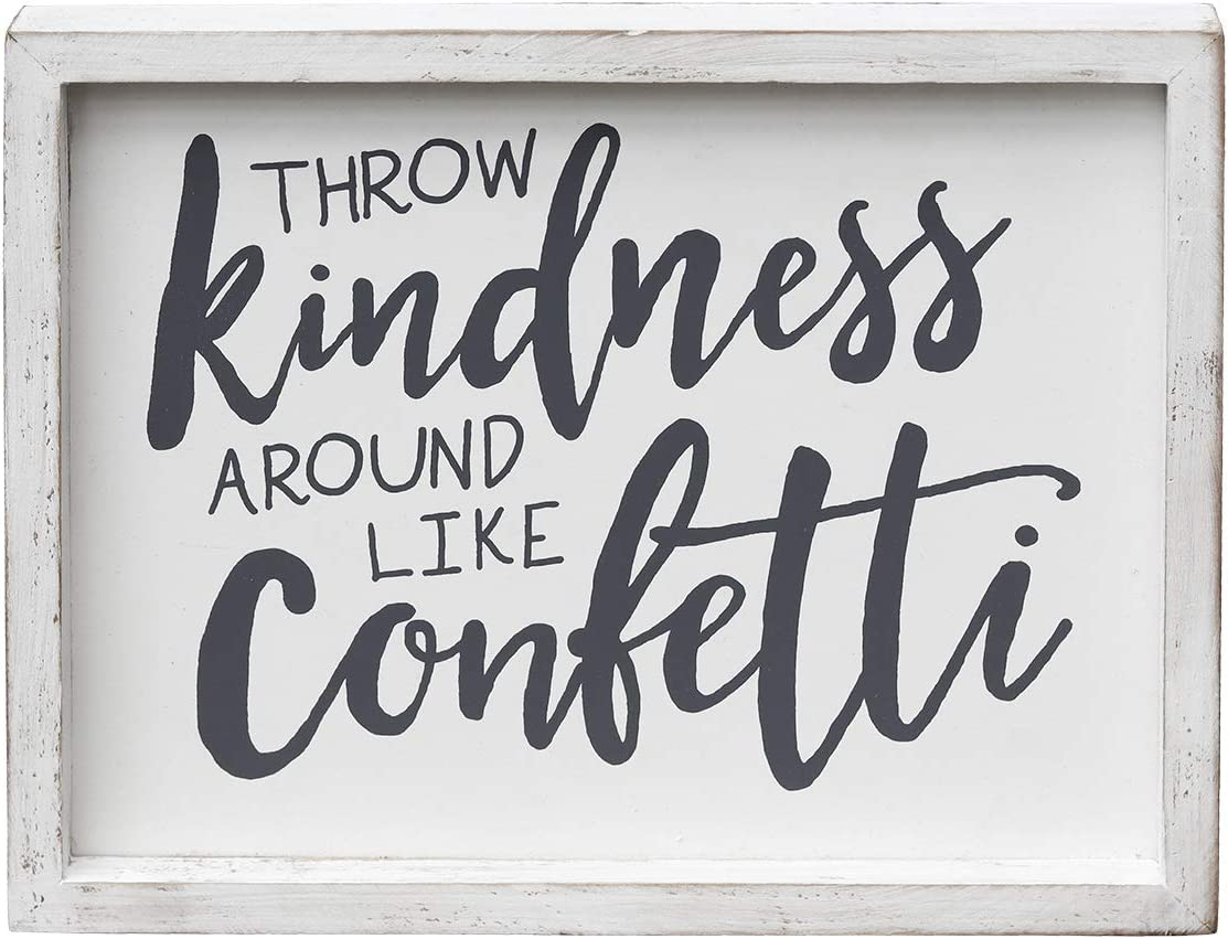 """Wood Framed Wall Sign with Inspirational Quotes - Throw Kindness Around Like Confetti, Rustic Farmhouse Wood Wall Hanging Decor for Living Room Bedroom Dinning Room, Whitewashed, 10""""W x 1""""D x 8""""H"""